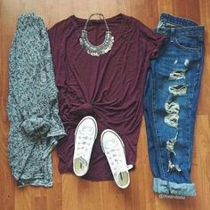 outfit, fashion, converse, casual (I like, but not necessarily with the over-shirt)