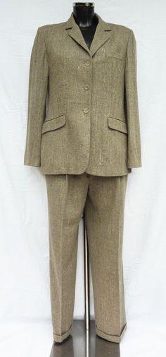Tailleur pantalon Femme marron chiné - Laine et Soie - Gérard Darel - Taille 42