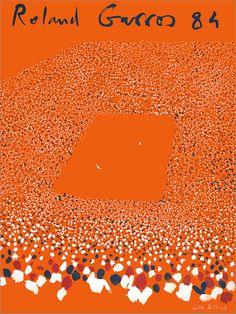 Vintage Poster - Rare - Aillaud, Roland Garros 84 - Signed Memorabilia - Sport - Tennis - Art - Orange