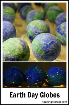 Paper Mache Light-up Globes - great (if messy!) project for Earth Day!