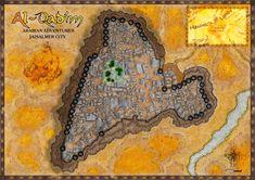 Jaisalmer, une ville au milieu des Haunted Lands dans l'univers d'Al Qadim d'AD&D2. Jaisalmer, Fantasy Map, Maps, Adventure, Painting, Middle, Universe, Gaming, Blue Prints