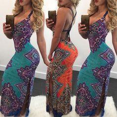 Ethnic Bandage Open Back Maxi Dress