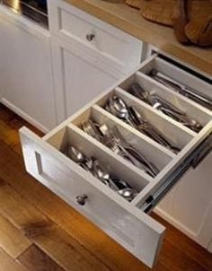 A New Look at Silverware Dividers -- This idea is so simple and it looks much better than using a plastic divider. 1. Measure the width of your drawer. 2. Cut a wooden board, about 3/4 an inch thick, to fit inside the drawer. 3. Paint the wooden inserts you cut to match the drawer. 4. Measure and divide the drawer into the desired number of equally spaced compartments. 5. Fasten the wooden inserts you built using screws or wood glue