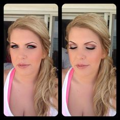 Blonde color with highlights and lowlights, soft curls, pinned to the side, glamorous wedding makeup, sunset inspired colors to contrast her blue eyes and make them pop, thicker liner with lashes and light pinky lip, Amber Heater, Gorgeous Salon, Salisbury MD, (410)677-4675