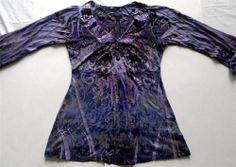 Apt. 9 Womens Sz S P Top Blouse Purple Black 3/4 Sleeve Paisley Butterfly NWT