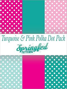 TURQUOISE+&+PINK+POLKA+DOT+PATTERN+PACK+of+Craft+Vinyl+Pack+Scrapbook+Supplies