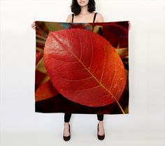 """Big Square Scarf (36"""" x 36"""") """"Glorious Autumn Foliage - Juneberry """" by R. V. James"""