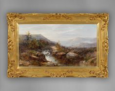 """No:401R """"Angler on the Bank of a Mountain River, with a Bridge and Mountains beyond."""" Mid 19th. Century Oil on Canvas by John Brandon Smith signed in the bottom right hand corner. This is typical of his work and appears to be in Wales which would date this to the late 1860s or early 1870s.  Ca.1870   Price :£ 6750-00p.  Height:18"""" 46cms Width: 32"""" 82cms. Depth: 3"""" 7.5cms Overall:26"""" 66cms x 39"""" 100cms x3"""" 7.5cms."""