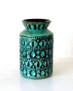 Vintage ceramic pottery vase glossy green with small by ArtCalypso, €25.00