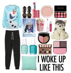 """Sleepover With Your Besties<3"" by strawberrykp on Polyvore featuring Michael Antonio, Disney, Bare Escentuals, Bobbi Brown Cosmetics, Essie, John Elliott + Co, Surratt, NYX and Sloane"