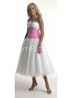 Classic Tulle Strapless Tea-Length A-Line Prom Dresses