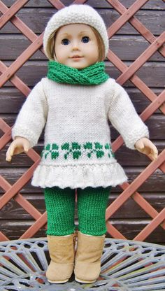 American Girl Doll.St Patrick's Day Sweetheart Set  PDF Knitting Pattern No 27
