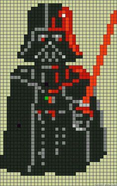 Star Wars Darth Vader perler bead pattern can be adapted for x-stitch or crochet, etc Hama Beads Patterns, Loom Patterns, Beading Patterns, Cross Stitching, Cross Stitch Embroidery, Cross Stitch Patterns, Sabre Star Wars, Pixel Art, Star Wars Crochet