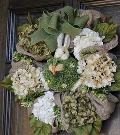 Spring Easter wreath Burlap wreath Hydrangea by theembellishedhome, $65.00