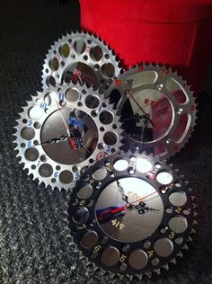 Dirt bike sprocket clocks by BMPRODUCTS on Etsy, $25.99