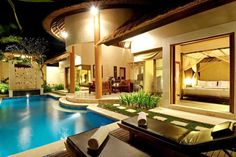 Fashionable small backyard pool design with leather sleeper sofa above wooden floor then interesting small garden inside living outdoor decoration idea. Living Pool, Outdoor Living, Outdoor Pool, Outdoor Decor, Indoor Swimming Pools, Backyard Pools, Backyard Ideas, Large Backyard, Pool Landscaping