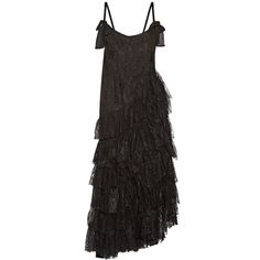 Alessandra Rich Swan asymmetric tiered lace and flocked tulle gown ($3,495) ❤ liked on Polyvore featuring dresses, gowns, black, glitter dresses, lace tulle dress, bow dress, lace ball gown and tiered ruffle dress