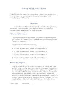 Partnership Dissolution Agreement  Use The Partnership
