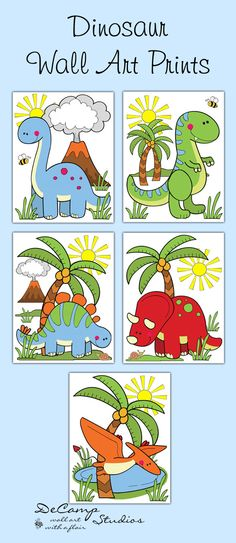 DINOSAUR PRINTS or DECALS Baby Boy Girl by decampstudios on Etsy