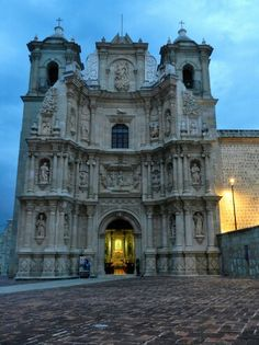 Basilica of Our Lady of Solitude in  Oaxaca de Juárez, State of Oaxaca, Mexico - It was built between 1682 and 1690, the architecture style is Baroque, and was intentionally built with low spires and towers, as to better resist earthquakes.