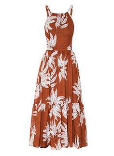 Vestido Mídi Estampa Samambaia Marrom Andrea Marques Cute Dresses, Beautiful Dresses, Casual Dresses, Girls Dresses, Daytime Dresses, Summer Dresses, Andrea Marques, Boho Sundress, Hijab Fashion