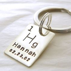 Personalized Periodic Table Element hand stamped sterling silver keychain $37.00