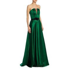 Theia Strapless Illusion Insert Belted Gown ($671) ❤ liked on Polyvore featuring dresses, gowns, belted dress, green dress, straight dresses, strapless dress and green ball gown