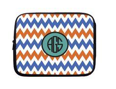 Laptop Sleeve, Laptop Case, Laptop Bag Blue Orange Teal Monogram