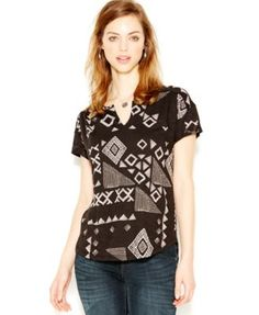 Lucky Brand Short-Sleeve Printed Peasant Top