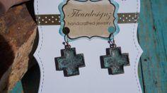 Patina....Turquoise...Bronzed...Cross...................Earrings by fleurdesignz, $12.00