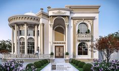 New classic palace on Behance Classic House Exterior, Classic House Design, Dream Home Design, Home Design Plans, Modern House Design, Bungalow House Design, House Front Design, Mansion Interior, Dream House Interior
