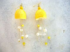 Sunny Yellow and White cocoon earrings/natural by CreationsByAlina, $18.00