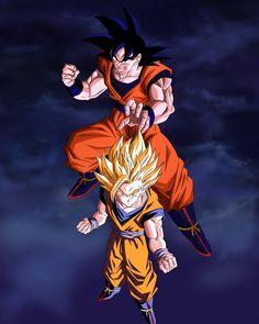 Dbz, Goku And Gohan, Dragon Ball Z, Godzilla, Boruto, Chibi, Wallpaper, Illustration, Anime