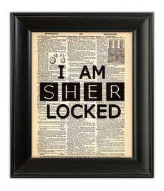 Sherlock Holmes I Am SHERLOCKED Dictionary Art by PatricianPrints, $9.00