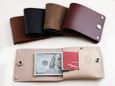 Our Dap Wallet is a minimalist leather wallet that is made from high quality American leather and riveted for durability. Our unique design can fit cash and cards.