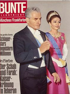1967 - Sjah Mohammed Reza Pahlavi & Empress Farah Diba of Persia Farah Diba, Russian Fashion, Royal Fashion, Style Russe, Elvis Wedding, Diamond Tiara, Diamond Jewelry, Pahlavi Dynasty, The Shah Of Iran
