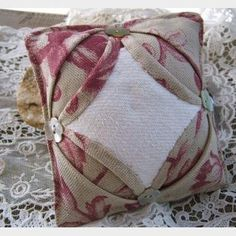 Cathedral Window Pin Cushion Handmade with French Linen