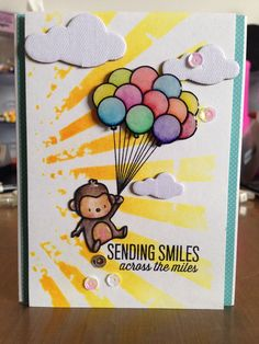 Sending Smile Across the Miles, Mama Elephant, Tim Holtz Distress Ink, Stencil, Derwent Inktense Pencils
