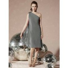 TYAD167 Chiffon One shoulder cocktail length Grey Prom Dresses