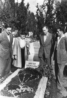 The vessel was named in memory of Hannah Senesh - one of 32 Jewish volunteers who parachuted during WW-II beyond Nazi lines in dare missions to organize resistance and save Jews from extermination. She was captured, tortured and eventually executed. Standing by her grave in Budapesht (1947): Yaakov Salomon, Shosh Spector, Amnon Yona and Yossef Harari. In 1950, Hannah's remains were brought to Israel for burial on Mount Herzl in Jerusalem.