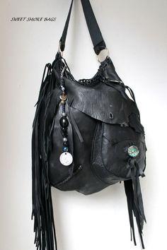 Distressed tribal black leather motor bag by SweetSmokebags