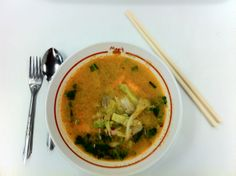 Tom Yum Goong Soup in Bangkok Airport (BKK).  One of Thailand's most famous dishes. Tasty and spicy.