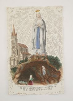 Antique Souvenir Card From Lourdes by NotreDameDeParis on Etsy