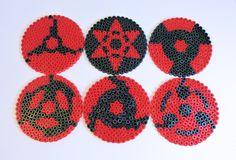 Naruto sharingan coasters hama beads by PikselNerd