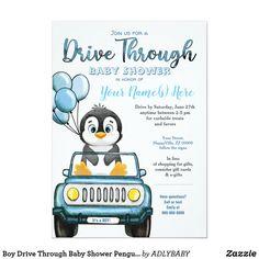 Penguin Birthday, Baby 1st Birthday, Cars Invitation, Custom Invitations, Baby Shower Images, Baby Boy Shower, Penguin Baby Showers, Baby Penguins, Nautical Baby