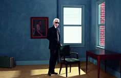 Karl Lagerfeld self portrait. A great artist of our time!! Models and myths appear in the Parisian exhibition.
