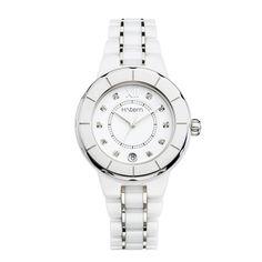 Relógio feminino de cerâmica branca e índices de diamantes http://m.hstern.com.br/relogio/feminino/sports-luxury/RS9AC204035