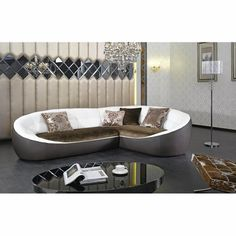 Divani Casa K8378 - Modern Eco-Leather & Fabric Sectional Sofa - Click to enlarge