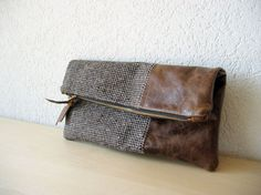 {/Leather Clutch in Dark Brown Italian Leather and European Wool - Indie Patchwork Series\}