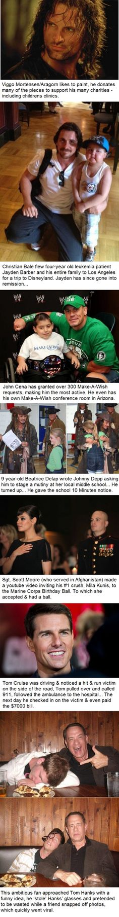 For when your faith in humanity needs to be restored...celebrities that actually do good things
